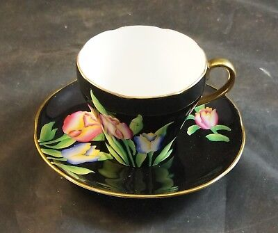 ADDERLEY  Fine Bone China Cup and Saucer Black Back Ground TULIPS