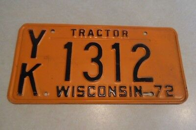 1972 Wisconsin Tractor License Plate