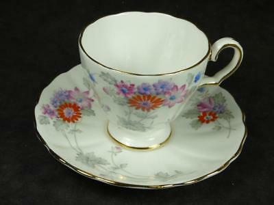 GROSVENOR CHINA  CUP + SAUCER, RED & PINK FLOWERS,A189, vgc