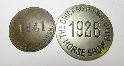 2 Equestrian Horse Show Buttons Chicago Riding Club 1926 Town & Country 1941