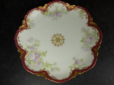 ANTIQUE HAVILAND LIMOGES SERVING DISH, BLUE ROSES,9.25in