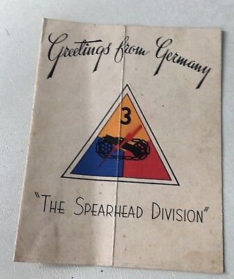 """Greetings from Germany 3rd Armor Div.  """"The Spearhead Division"""""""