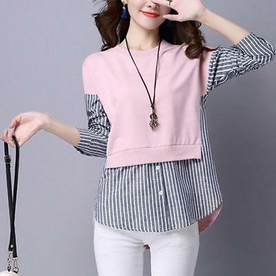 Korean Spring Women Long Sleeve Fashion S8 Striped False Two Pieces Shirt Tops