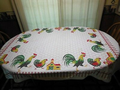 Vintage Tablecloth Chickens Roosters Chickenwire Barn Yard Farmhouse Chic