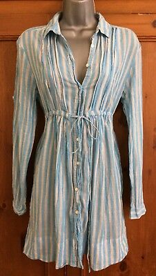 Zara Blue And White Stripe Cotton Holiday Shirt Tunic Dress M Beach Boho Ibiza