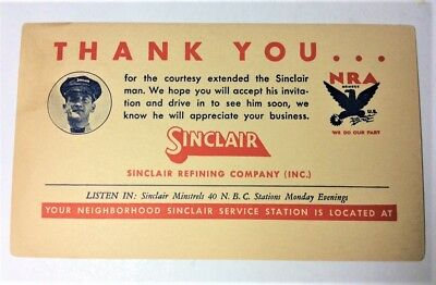 1930's Sinclair Oil Advertising Post Card