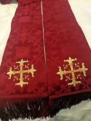 Stunning Rare Vintage Catholic Priests Red Brocade Stole Cox Sons & Vining