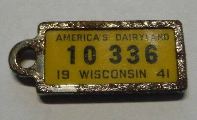 1941 Wisconsin Ident O Tag Co Mini License Plate