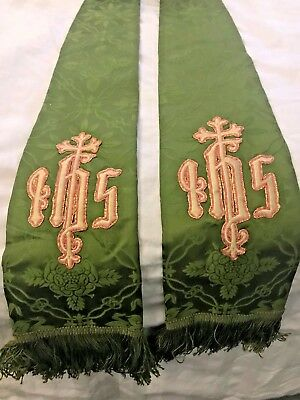 Beautiful Vintage Catholic Priests Green Silk Brocade Stole W/ Ihs