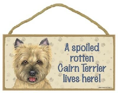 CAIRN TERRIER A Spoiled Rotten DOG SIGN wood HANGING WALL PLAQUE tan puppy USA