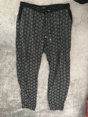NEW LOOK MATERNITY Womens Black White Floral Casual Harem Trousers. Size 14