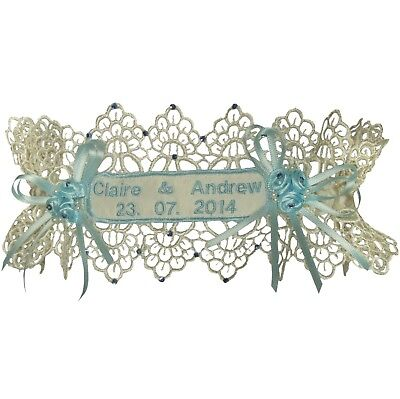 Personalised Wedding Garter, Ivory Or White Guipure Lace,Blue Embroidery & Trim