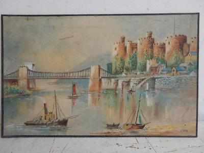 old PAINTING CASTLE RIVER STEAM SHIP signed H ATTY