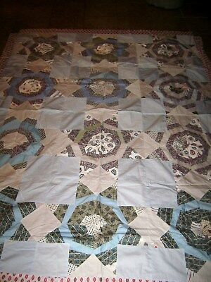 Charming Vintage Quilt Topper Handmade Blues and Whites 70 x 91