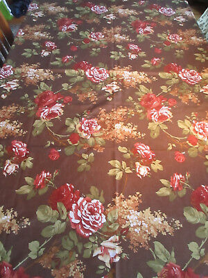 "Tablecloth in Browns, Golds, Dark Reds w/Roses Hydrangeas 52"" x 70"", Vintage"