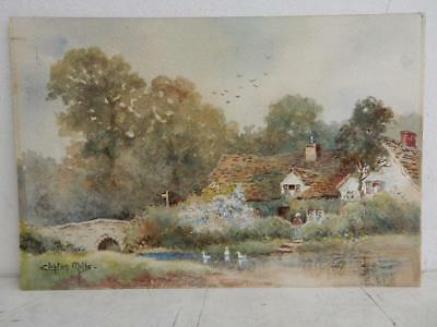 really old PAINTING cottage pond signed CLIFTON MILLS