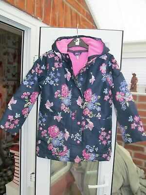 Joules floral bird print navy hoodie girls coat age 9-10 years.