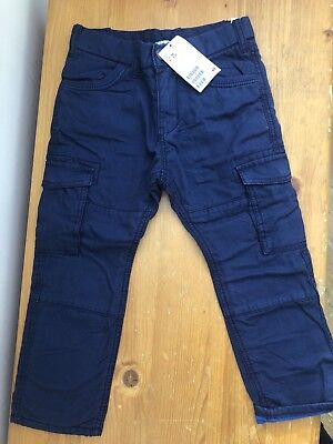 H&M Dark Blue 'Awesome' Cargo Combat Trousers 2-3 Years. Brand New With Tag.
