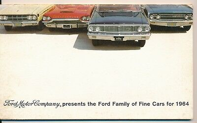 FORD MOTOR COMPANY FINE CARS FOR 1964 BROCHURE - 32 page - DELIVERED