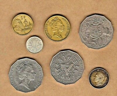 Australia, 7 coin lot with $2 Aboriginal Man coin w/1942-d 6 P & 1943 3 P Silver