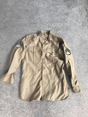 WW2 US Marine Corp Shirt Named With Chevrons (A125