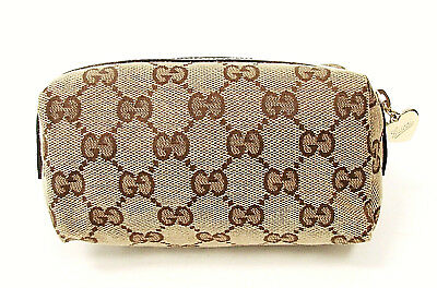 NEW GUCCI GG Monogram Brown Canvas Cosmetic Make Up Bag Pouch White Leather Trim