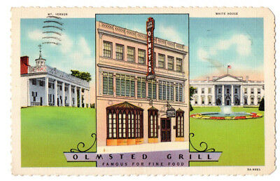 Olmsted Grill, 1336 G St., N.W, Washington, DC 1935 Linen Postcard