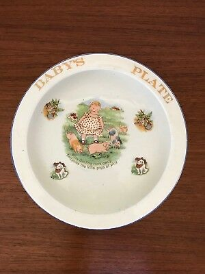 Antique Pottery Baby Bunting Nursery Rhyme Child's Bowl