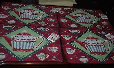 Lot 4 NWT Mary Engelbreit Cup of Kindness Fabric 18X13 Tapestry Placemats