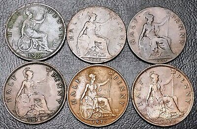 Lot of 6x Great Britain UK Half Penny Coins - Dates: 1891 to 1931