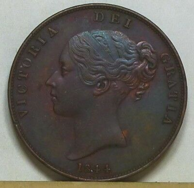 Great Britain Penny 1844 EF/Almost Uncirculated NO RESERVE