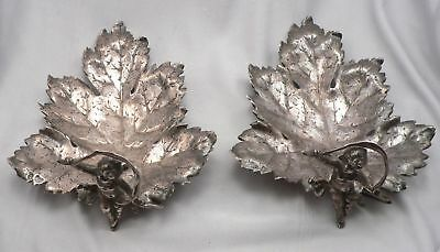 Pair Antique SILVER Repousse Grape Leaf Cherub Bon Bon Nut DISH Hallmarks 432.8g