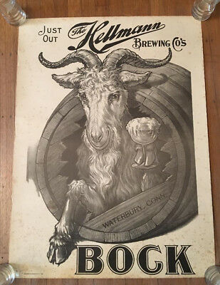 1900s HELLMANN BREWING COMPANY, WATERBURY, CONNECTICUT BOCK BEER LITHOGRAPH SIGN