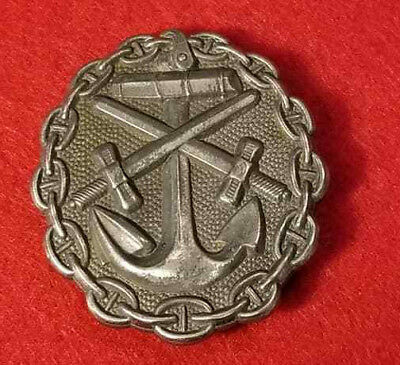 WWI WW2 German Military Naval Wound Badge in Silver award metal