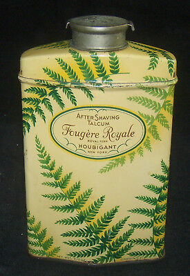 Vintage Fougere Royale Royal Fern Houbigant NY After Shaving Talcum Tin 3 1/2 oz