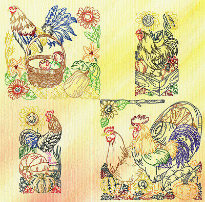 Chickens Colourline 17 Machine Embroidery Designs Cd 3 Sizes