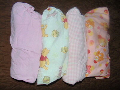 CRIB SHEET LOT Pink Winnie the Pooh SET OF 4 Care Bears STANDARD SIZE FITTED