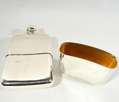 "Antique 1906 Heavy Sterling Silver Edwardian FLASK w/ gilded Cup  6 1/4""  322 gr"