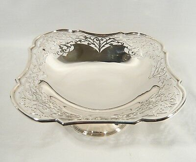 Antique John Round HEAVY Sterling Silver COMPOTE Pedestal reticulated DISH Bowl