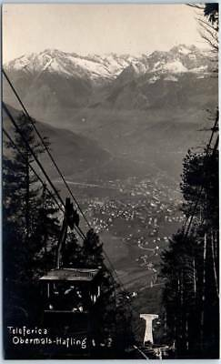 1924 Obermais - Hafling (Italy) RPPC Real Photo Postcard Aerial Tramway w/ View