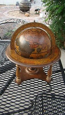 ~ Vintage Wood Table Top Zodiac Astrology Old World Globe w/ Stand ~