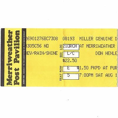 DON HENLEY Concert Ticket Stub COLUMBIA MD 8/19/89 MERRIWEATHER POST THE EAGLES