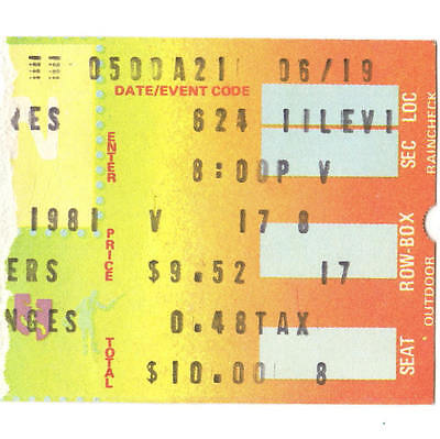 JOE WALSH & DAVID LINDLEY Concert Ticket Stub PHILLY 6/24/81 SPECTRUM THE EAGLES