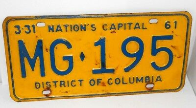Vintage 1961 District of Columbia Nation's Capital License Plate