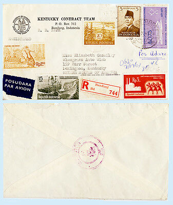 Indonesia 1961 #393 497 508 517+ Registered Airmail Cover to Kentucky Auto Club