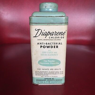 Vintage Diaparene Chloride Dusting Powder 9oz Tin - For Baby, Infant & Adults