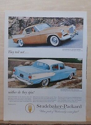 1957 magazine ad for Studebaker - Super Charged with Twin Traction, Golden Hawk