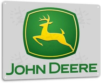 John Deere Tractor Farm Tools Equipment Garage Retro Tin Sign