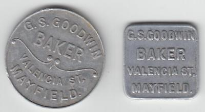 Two Bread Tokens, Goodwin, Valencia St. Mayfield, 1 Loaf, ! Half Loaf
