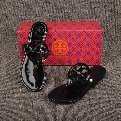 tory burch logo miller sandals black shiny leather size 9